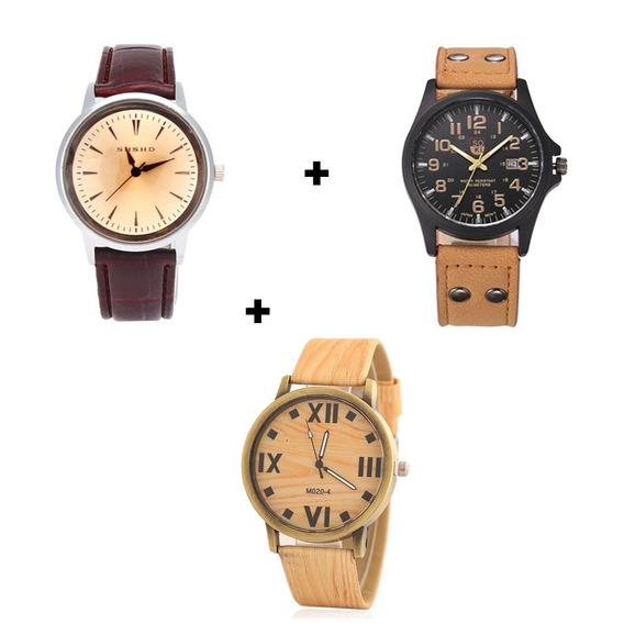 Kit 3 Relógios De Ponteiro Masculino Marrom Claro E Escuro