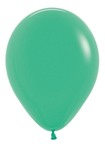 Bolsa Con 50 Globos Color Fashion Solido Verde 12 Pulgadas