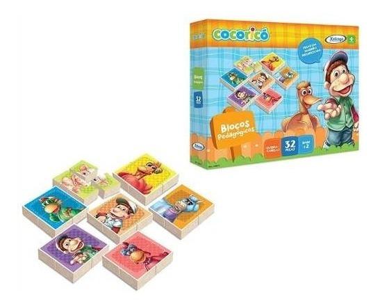 Blocos Quebra-cabeças Infantil Cocoricó 32 Peças - Xalingo