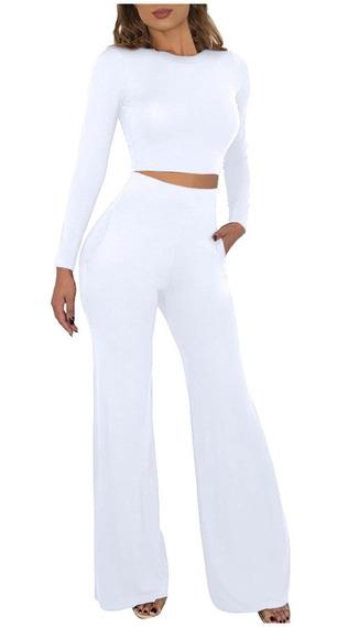 Conjunto Pantalon Ancho Con Top Mujer Mercadolibre Com Mx