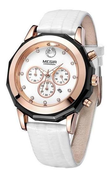 Relógio Megir 2042 Feminino Luxo Pulseira Couro Fréte Grats