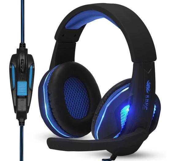Headset Gamer Pc Fone Microfone Ps4 Notebook Celular P2 Usb Leds + Adaptador