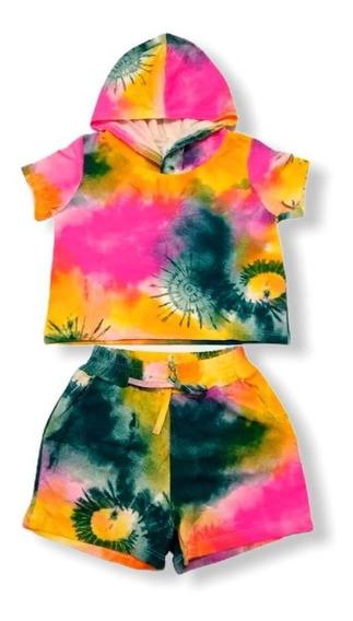 Conjunto Shorts E Blusa Cropped Tie Dye Infantil 4 Ao 10
