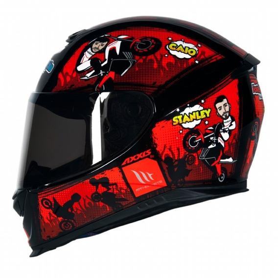 Capacete Moto Axxis Força E Ação Preto / Vermelho 60