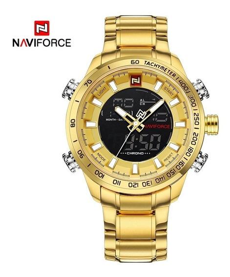 Naviforce 9093 Dourado + Naviforce 9095 Pulseira De Couro