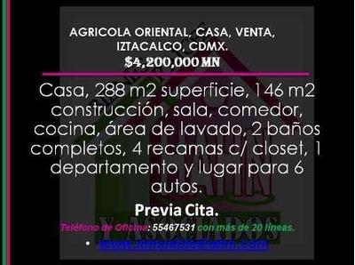 (crm-92-8771) Agricola Oriental, Casa, Venta, Iztacalco, Cdmx.