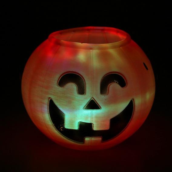 Halloween Adorno Calabaza Caramelera Luminosa Con Luz Led