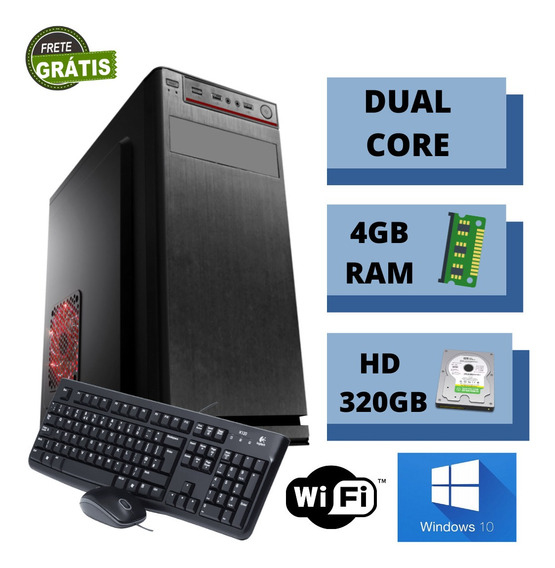 Cpu Desktop Simples Dual Core 4gb Hd 320gb Win10 Nova Frete