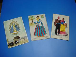 Tarjetas Postales Antiguas Bordadas