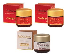 Creme Facial Melitina 50g + Creme Geleia Real Kit Com 3 Uni