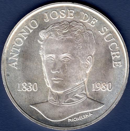 Imagen 1 de 2 de 75 Bolívares De Plata De 1980 150 Años De La Muerte De Sucre