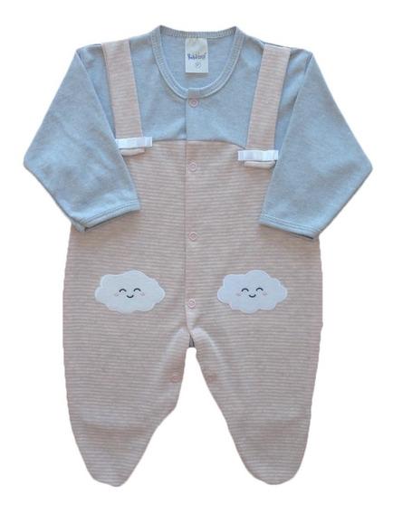 Macacão Bebê Menina Estampado 100% Algodão Com Bordado