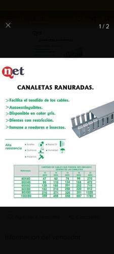 Canaleta Plastica Ranurada Gris 60x60 X 2mts