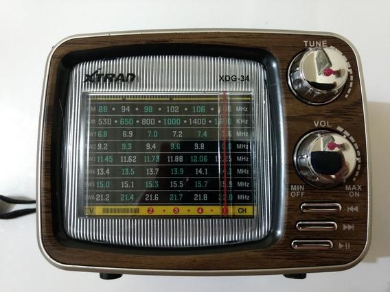 Rádio Retrô Vintage Estilo Tv Bateria Recarregável Atacado