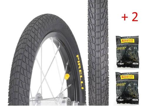 Imagem 1 de 3 de 2 Pneu Aro 20x1.75  2 Camara Pirelli Scuba Bicicleta Aro 20