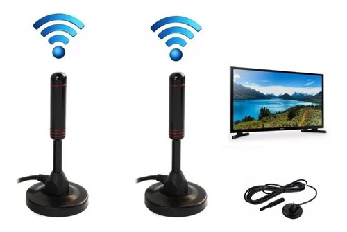 Imagen 1 de 5 de Pack X2 Antena Tv Digital Hd  Con Iman Interior / Exterior