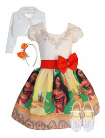 Vestido Moana Adulta + Bolero + Sapatilha + Tiara