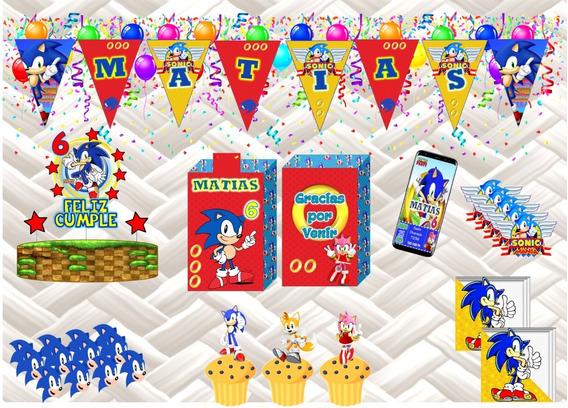 Super Combo X 5 Bolsitas Sticker Banderín Tematica Sonic