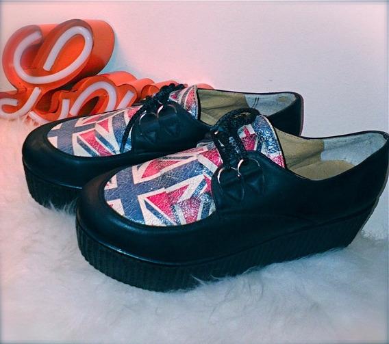 Zapatos Plataforma Bandera Uk Reino Unido T40- Impecables Bellos