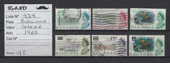 Lote924 Bahamas Lote De 6 Estampillas Año 1965 Usadas