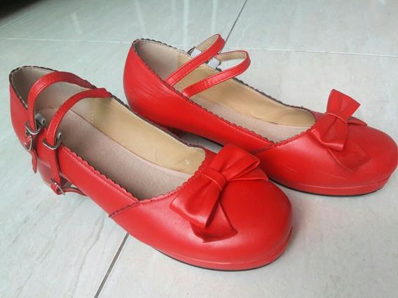 Sapato Lolita Cosplay Vermelho 39 / 40 Usado Importado