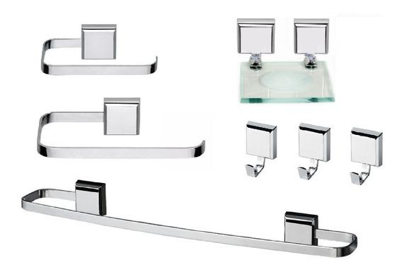 Kit De Acessórios Para Banheiro Linha Luxo Quadrado 7 Peças