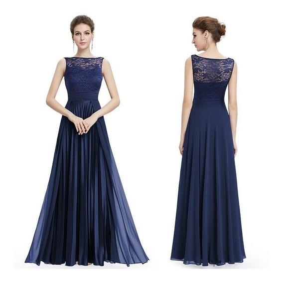 Elegante Vestido Largo Azul Satén Encaje Gasa Importado