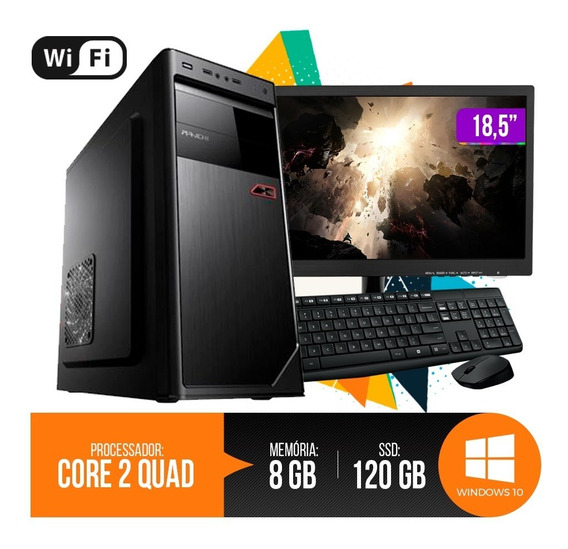 Pc Completo Core 2quad 8gb Ram Hd Ssd 120gb Monitor 18,5 Led