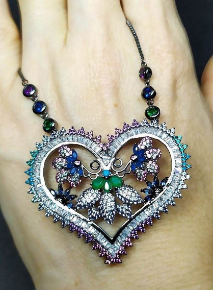 Fz7-colar Coração Jardim Cristal Zirconias Rodio Negro