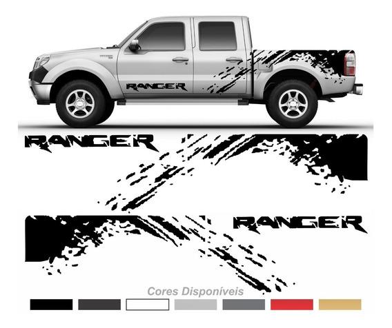 Adesivo Faixas Laterais + Emblema Porta Ford Ranger Imp80