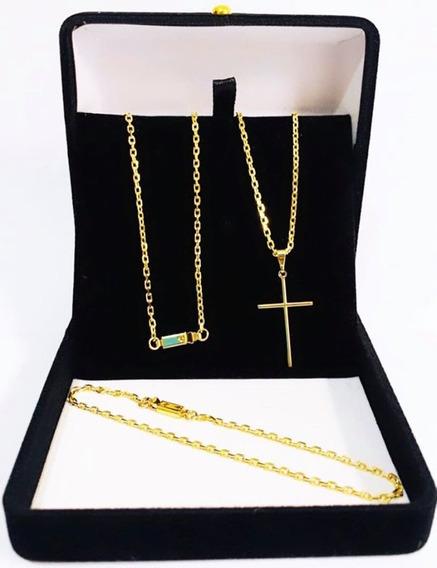 Cordão Corrente Banhado Ouro 18k Com Pingente Crucifixo