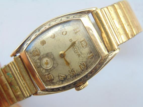 Relogio Antigo Bulova Swiss 10ba Artdeco Anos30 Plaq Ouro