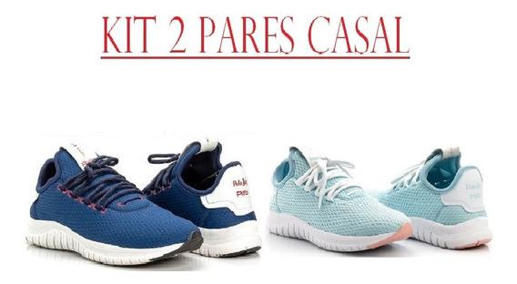 Kit 2 Pares Tênis Casal Caminhada Polo Joy Pj Super Leve