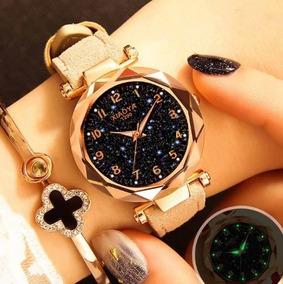 Relógios Pulso Feminino Céu Estrelado Quartzo Marrom Claro