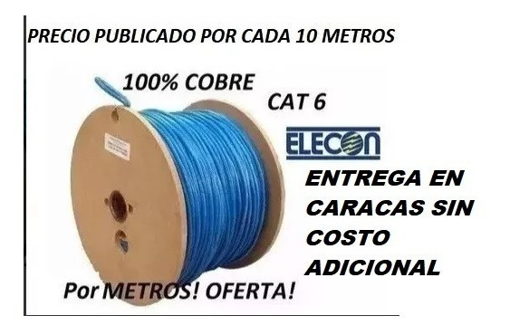 Cable Utp Cat6 Por 10metros 100% Cobre Cctv Marca Elecon