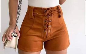 Shorts Feminino Suede Com Amarração Coleção Nova