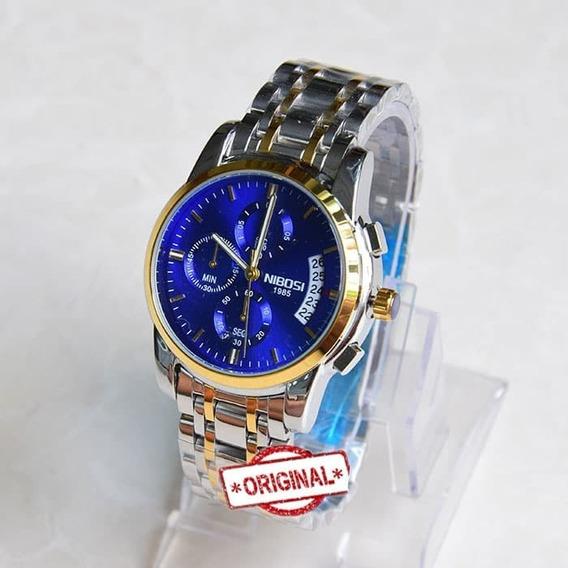 Relógio Niboisi 2353 Cronógrafo - 30m Prata/dourado Azul