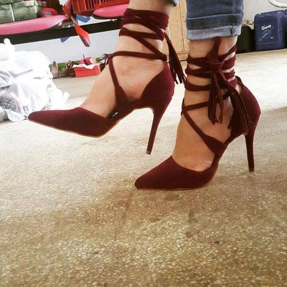 Sapatos Femininos Scarpins Nobuck De Amarrar