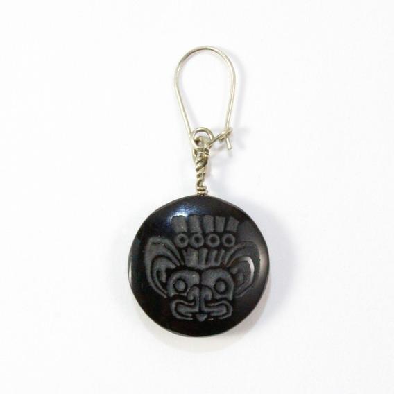 Aretes Obsidiana Grabada