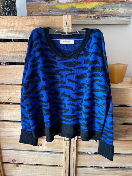Buzo Tejido Rapsodia Animal Print Azul Y Negro Talle L Nuevo