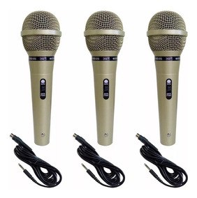 Kit C/ 3 Microfones Profissionais Carol + Cabo De 4,7 Metros