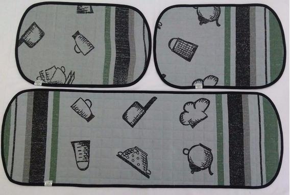 Jogo De Tapete Cozinha 3 Peças Atoalhado Antiderrapante Bule
