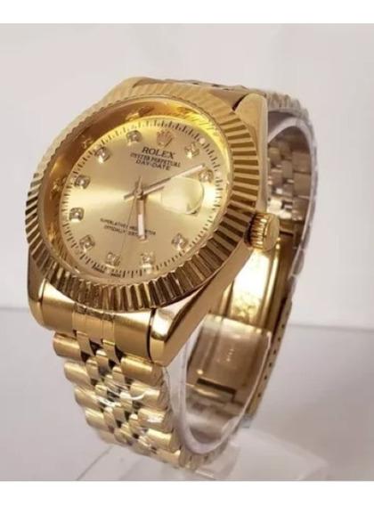 Relógio Unissex Caixa 40mm , Com Pedras, Todo Em Aço