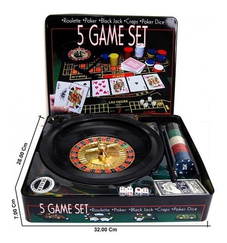 Imagen 1 de 5 de Set De 5 Juegos Ruleta Poker Black Jack Craps Dados Y Dice