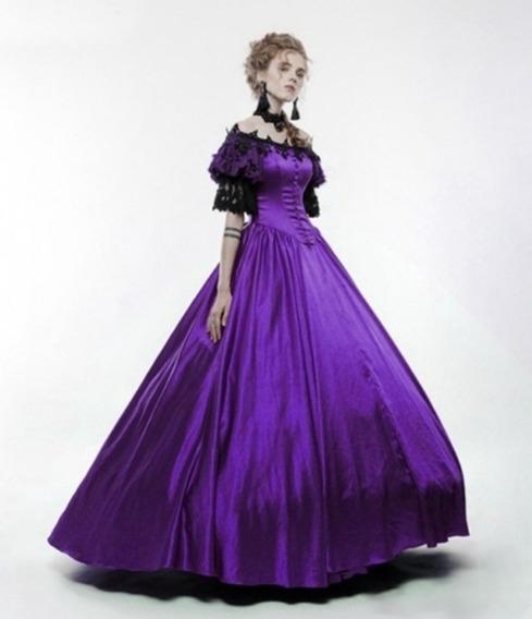 Vestido Vintage Medieval Roxo
