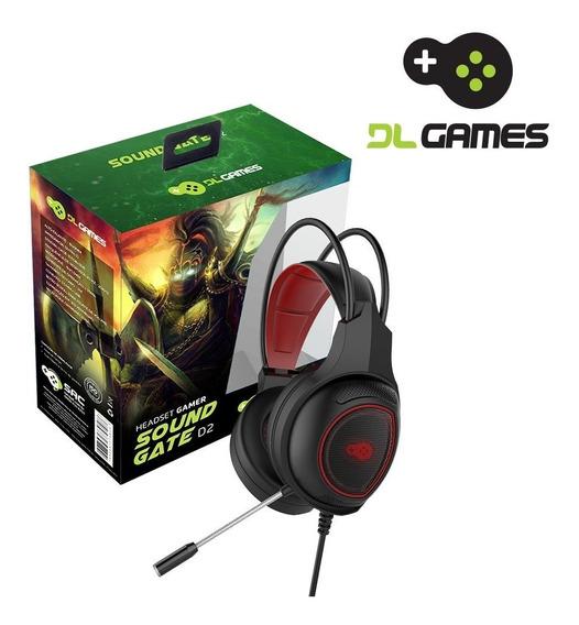 Headset Gamer Dlgames Soundgate D2, Led Vermelho, P2, Preto