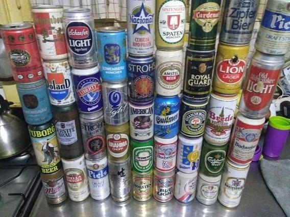 Lote De 40 Latas Antiguas De Cerveza Hay De Chapa Y De Alumi