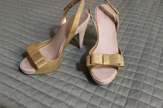 Melissa Sky Dourada Com Glitter Tamanho 36