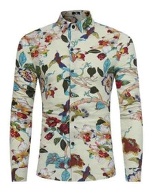 Camisa Social Masculina Luxo Slim Floral Exclusiva Flores