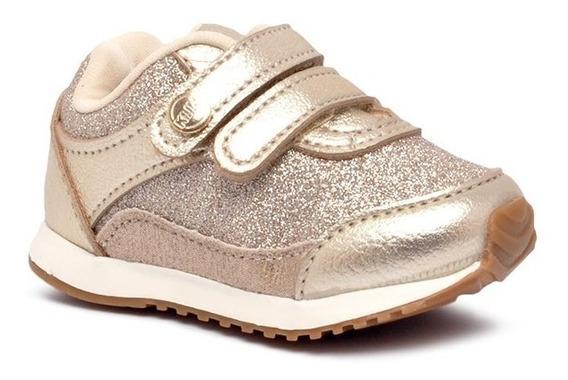 Tênis Infantil Klin 453041 Dourado Glitter